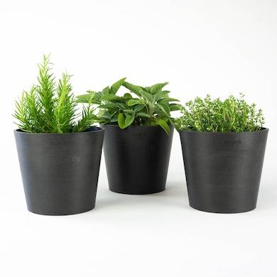 Trio cache-pots Amsterdam Eco Gris foncé - M/15cm